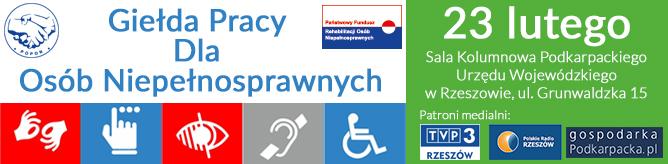 Rzeszów 23 lutego (czwartek) 2017 r. - Giełda Pracy Dla Osób Niepełnosprawnych