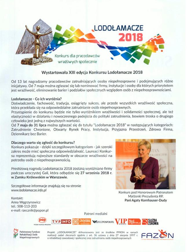 WYSTARTOWAŁA XIII EDYCJA KONKURSU LODOŁAMACZE 2018